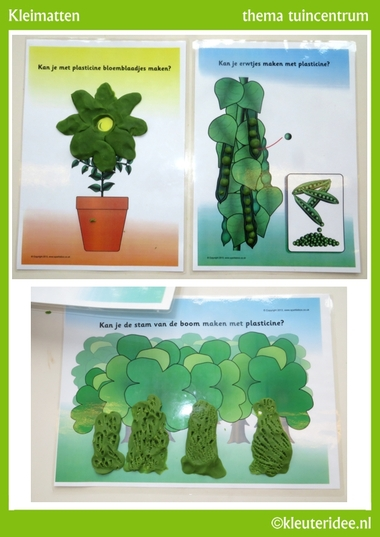 Kleimatjes voor kleuters 2 , thema tuincentrum, kleuteridee, free pintable..