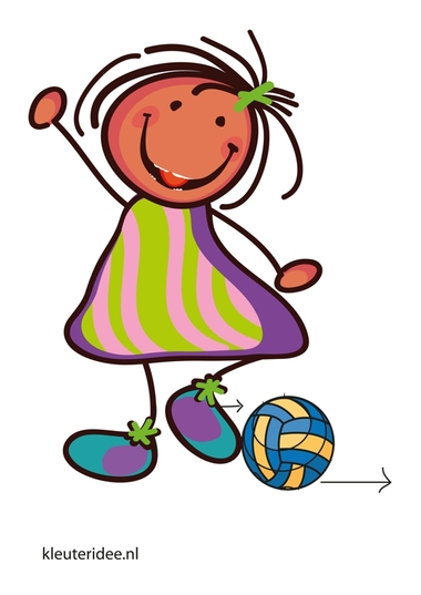 Bewegingskaart bal voor kleuters, bal rollen met je voet, kleuteridee.nl, free printable moving cards for preschool.