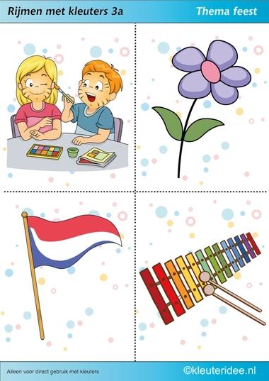 Rijmen met kleuters 3a, thema feest, juf Petra van kleuteridee, free printable.