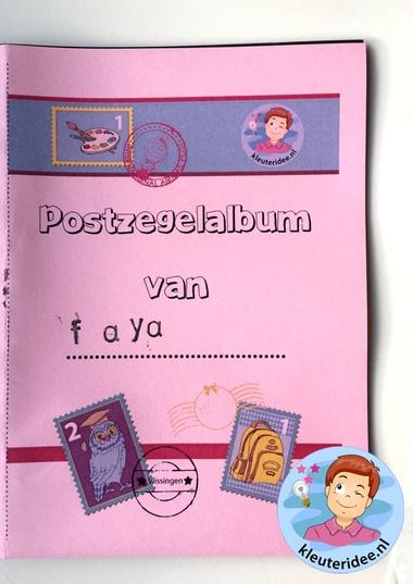 Postzegelalbum maken met kleuters 5, thema post, kleuteridee, met gratis download.