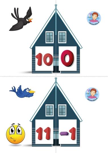 Vrienden van 10 6 kleuteridee.nl, free printable, Twee halve huizen aan elkaar, is precies 10 bij elkaar