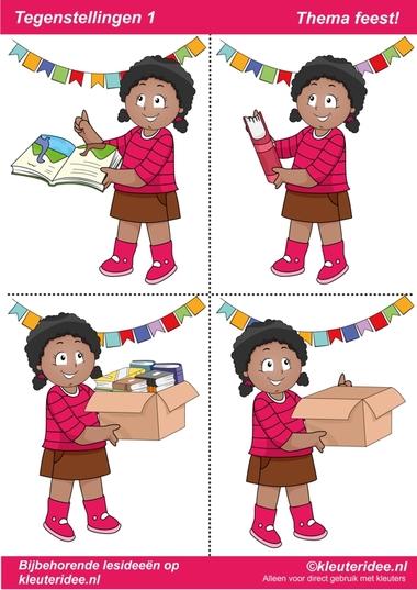 Tegenstellingen deel 1, thema feest voor kleuters, juf Petra van kleuteridee, bij behorende les op de website, preschool opposites, free printable.