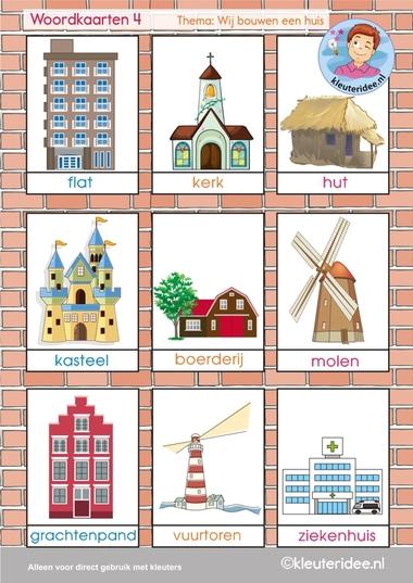 Woordkaarten 4, thema 'wij bouwen een huis', kleuteridee, free printable.