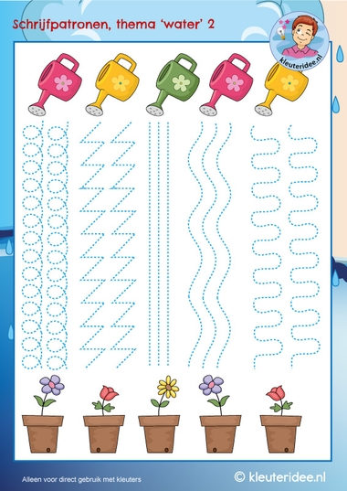 Schrijfpatroon gieter plant, thema water, kleuteridee