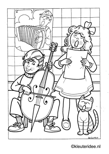 Kinderen maken muziek, kleurplaat op kleuteridee, kids making music, free printable coloringpage.
