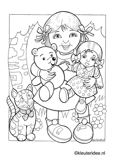 Poppen 2, kleurplaat op kleuteridee, dolls and puppets, free printable coloringpage.