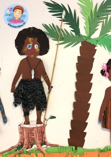 Afrikaanse kinderen knutselen,kleuteridee , thema Afrika 2.
