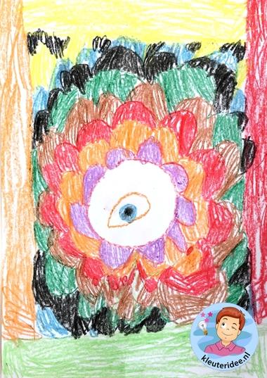 Teken een fantasie-oog met kleuters, kleuteridee, thema het oog, Kindergarten eye theme.