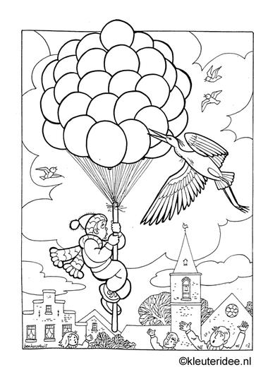 Jongen met ballonnen, kleurplaat op kleuteridee, boy with balloons, freeprintable coloringpage.
