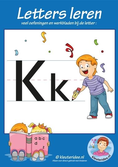 Pakket over de letter k blad 1, voorkant, letters aanbieden aan kleuters, kleuteridee.nl, free printable.
