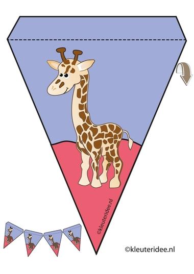 giraf slinger, thema dierentuin, juf Petra van kleuteridee, giraf guirlande, Preschool zoo theme, free printable.