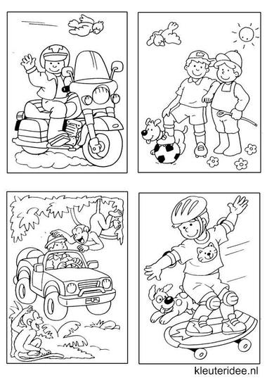 Kleine kleurplaatjes 6 voor jongens, kleuteridee.nl , deze kleurplaatjes maken kleuters echt af ;), free printable.