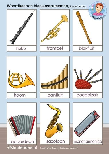 Woordkaarten blaasinstrumenten, kleuteridee.nl, free printable..