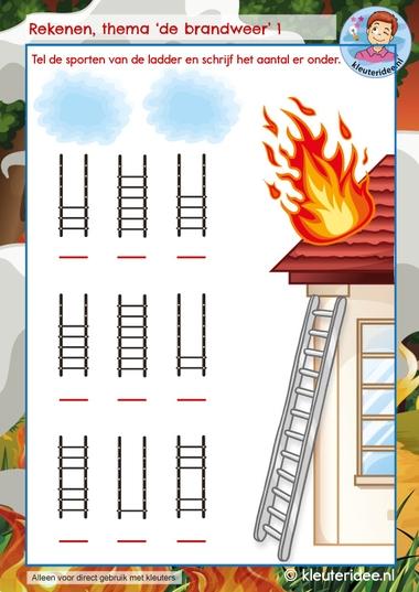 Rekenen thema de brandweer, kindergarten math firefighters theme, kleuteridee 1