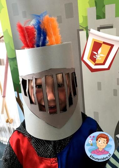 helm voor ridder van karton knutselen, thema ridders, kleuteridee, helmet knights theme kindergarten 3