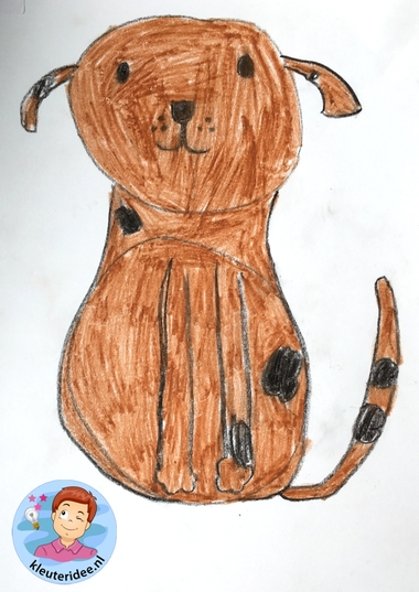 hond tekenen stap voor stap, thema de hond, kindergarten dog theme, draw a dog step by step, kleuteridee