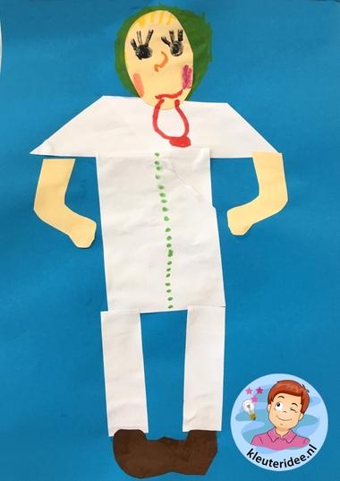 Dokter knippen en plakken, thema ziek, ziekenhuis, kleuteridee 2.