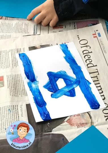 Vlag Israël verven, kleuteridee 2