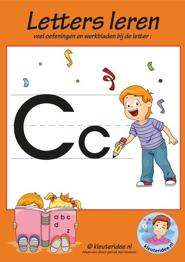 Pakket over de letter c blad 1, voorkant, letters aanbieden aan kleuters, kleuteridee.nl, free printable.