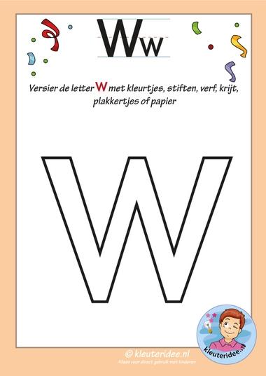 Pakket over de letter w blad 5, versier de letter w, kleuteridee, free printable