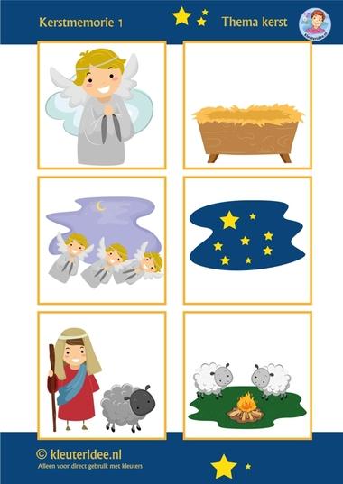 Kerstmemorie voor kleuters 1, thema kerst, juf Petra kleuteridee, Preschool christmas memory game, free printable.
