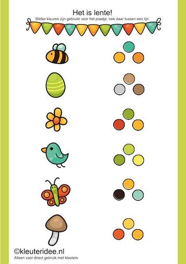 Het is lente, welke kleuren zijn er bebruikt, kleuteridee.nl , thema lente, free printable.