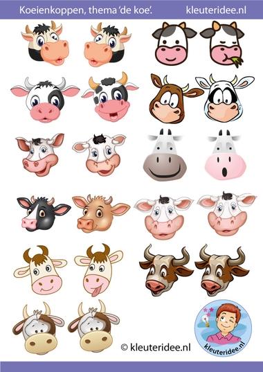 koeienkoppen voor koeien, kleuteridee, Kindergarten cow crafts, free printable.