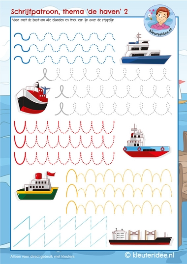 Schrijfpatroon, thema de haven boten, kleuteridee, kindergarten writing pattern port ship, free printable