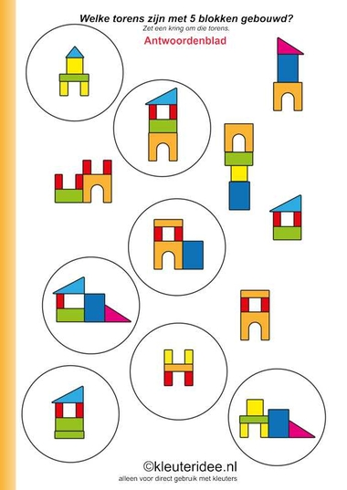 Welke torens zijn met vijf blokjes gebouwd, antwoordenblad , kleuteridee.nl ,Which towers are built with five blocks, answers, free printable.