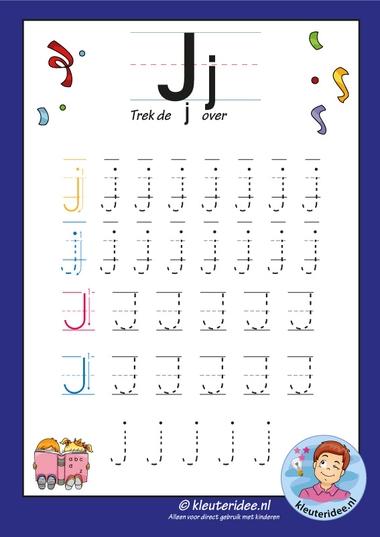 Pakket over de letter j blad 7, trek de letter j over, letters aanbieden aan kleuters, kleuteridee, free printable.