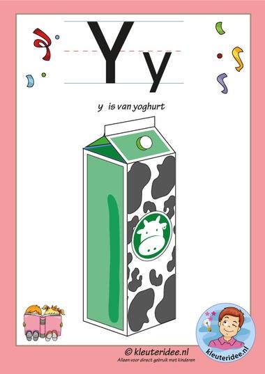Pakket over de letter y blad 2, letterkaart met een y, kleuteridee, free printable