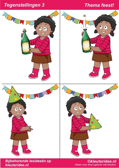 Tegenstellingen deel 3, thema feest voor kleuters, juf Petra van kleuteridee, bij behorende les op de website, preschool opposites, free printable.