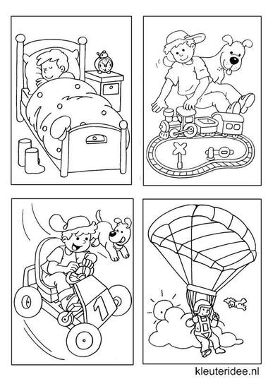 Kleine kleurplaatjes 16 voor jongens, kleuteridee.nl , deze kleurplaatjes maken kleuters echt af ;), free printable.