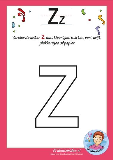 Pakket over de letter z blad 5, versier de letter z, kleuteridee, free printable