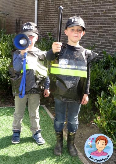 Politiehes knutselen met kleuters 5, met gratis download, Kindergarten police theme, kleuteridee