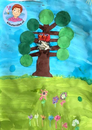 collage lente knutselen met kleuters, Spring theme craft kindergarten, kleuteridee 3