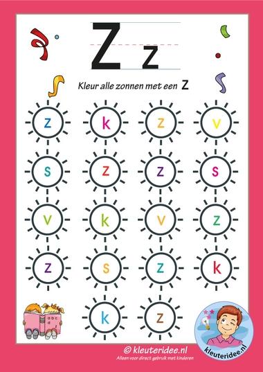 Pakket over de letterz, blad 6, kleur alle zonnen met een z, letters aanbieden aan kleuters, kleuteridee, free printable k