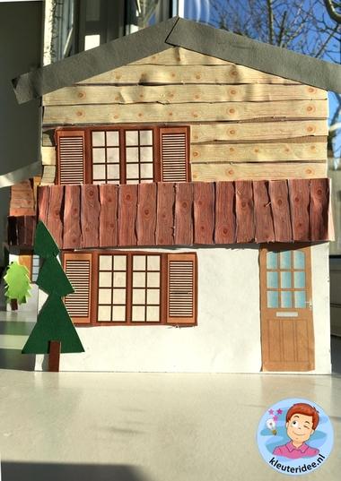 chalet knutselen, thema bergen kleuters, Kindergarten mountains craft 4k, kleuteridee