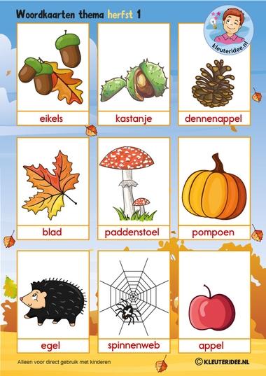 Woordkaarten 1 voor kleuters, thema herfst, juf Petra van kleuteridee, free preschool printable