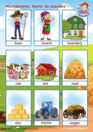 woordkaarten thema de boerderij, kleuteridee 1woordkaarten thema de boerderij, kleuteridee 1
