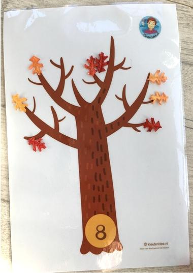 Herfst, rekenen met kleuters, kale bomen 8, kleuteridee