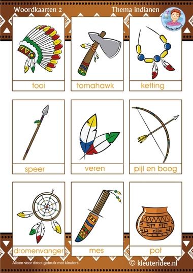 Woordkaarten voor kleuters 2, thema indianen, kleuteridee, free printable.