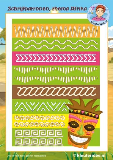 schrijfpatronen 2 Afrika, kleuteridee, Kindergarten writingpatterns, free printable.