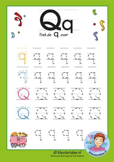 Pakket over de letter q blad 7, trek de letter q over, letters aanbieden aan kleuters, kleuteridee, free printable