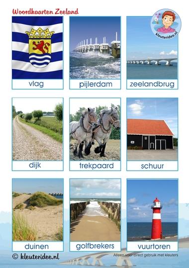 Woordkaarten Zeeland voor kleuters, kleuteridee.nl, thema Zeeland, free printable.