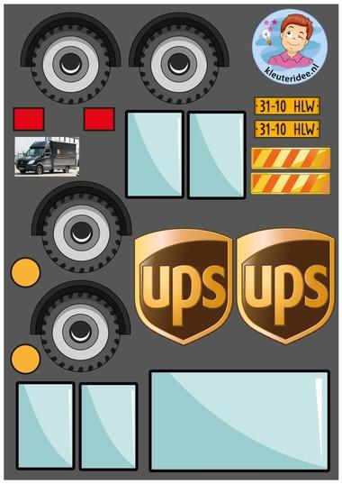 Knipvellen pakketauto's kleuteridee UPS