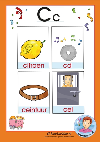 Pakket over de letter c blad 3a, woordkaarten met een c, kleuteridee.nl, free printable.