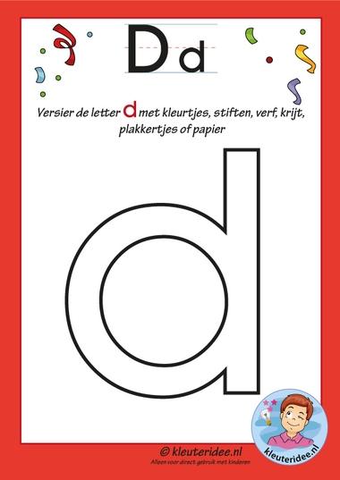 Pakket over de letter d blad 4, versier de letter d, letters aanbieden aan kleuters, kleuteridee, free printable.