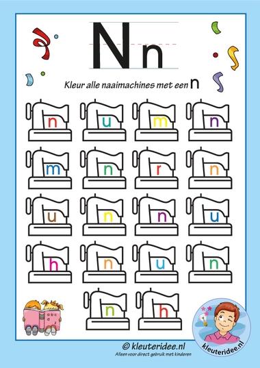 kleur alle naaimachines met een n, de letter n, kleuteridee, free printable