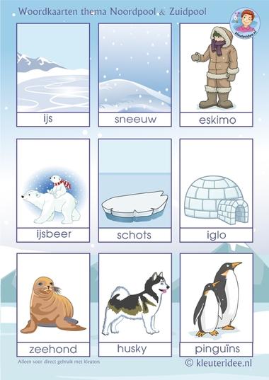 Woordkaarten voor kleuters, thema Noordpool en Zuidpool, kleuteridee, Arctic preschool theme, free printable.